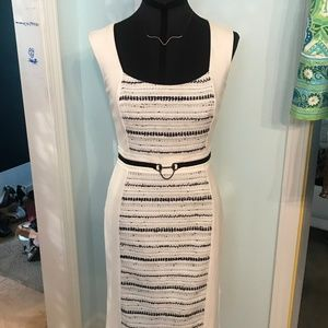 WHITE BLACK FITTED TWEED DRESS WHBM SIZE 0